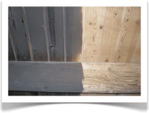 soot damage on wood