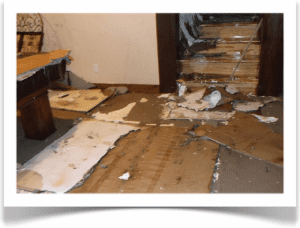 water damage fallen drywall